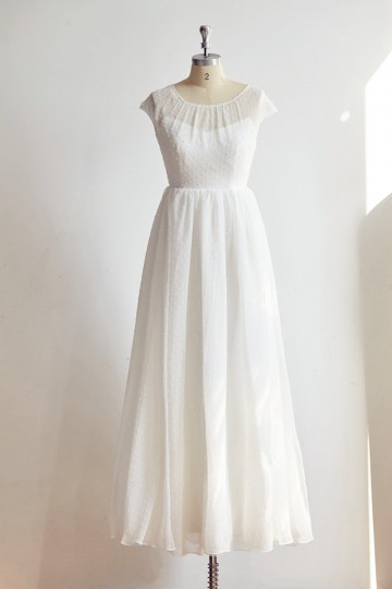 Princessly.com-K1000326-Cap Sleeves Polk Dot Chiffon Wedding dress Bridal Gown-20