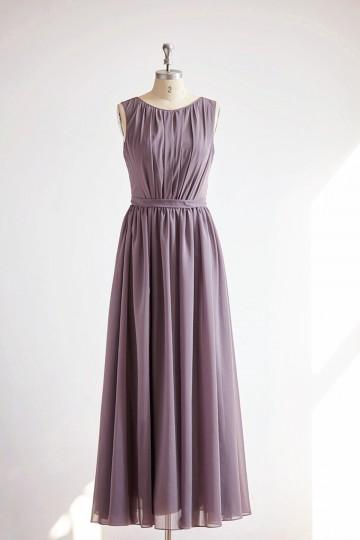 Princessly.com-K1000327-V Back Gray Chiffon Long Wedding Bridesmaid Dress-20
