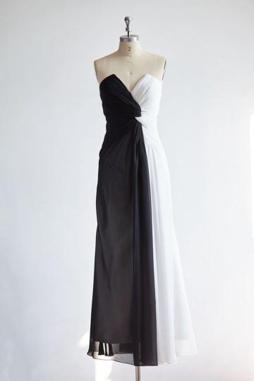 Princessly.com-K1000328-Strapless V Neck Black Ivory Long Chiffon Evening Party Dress-20
