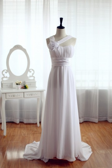 Princessly.com-K1001932-One Shoulder Beach Wedding Dress Chiffon Bridesmaid Dress Prom Dress-20