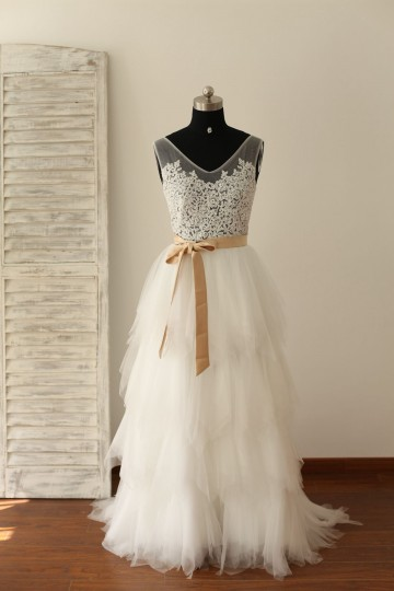 Princessly.com-K1000220-Sheer See Though Ivory Lace Tulle V Back Wedding Dress with champagne sash-20