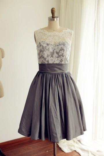 Princessly.com-K1000223-V Back Ivory Lace /Grey Taffeta Tea Length Short Bridesmaid Dress-20