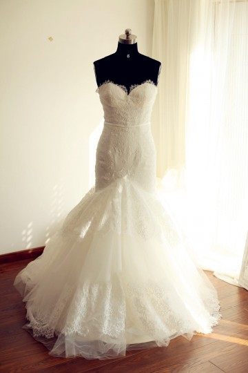 Princessly.com-K1000247-Strapless Sweetheart Ivory Lace Tulle Mermaid wedding Dress-20