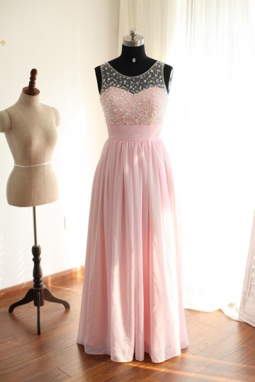 Princessly.com-K1000249-Sheer See Through Back Pink Chiffon Beaded Prom Dress-20