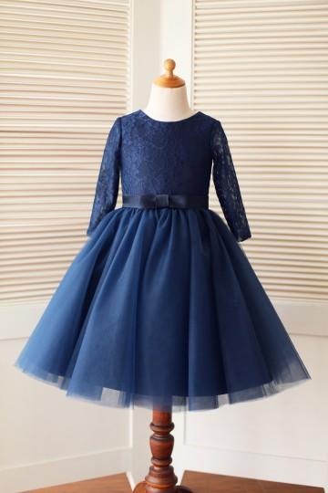 Princessly.com-K1000128-Long Sleeves Navy blue Lace Tulle Flower Girl Dress-20