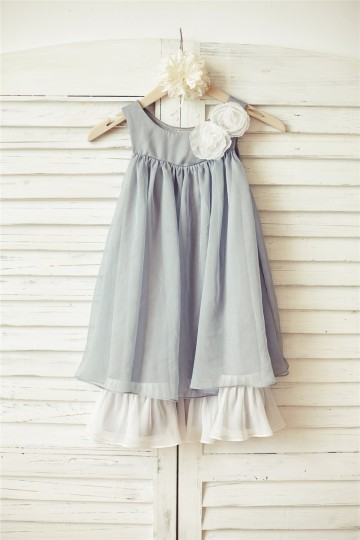 Princessly.com-K1000074 Boho Beach Grey Chiffon Flower Girl Dress with ivory flowers-20