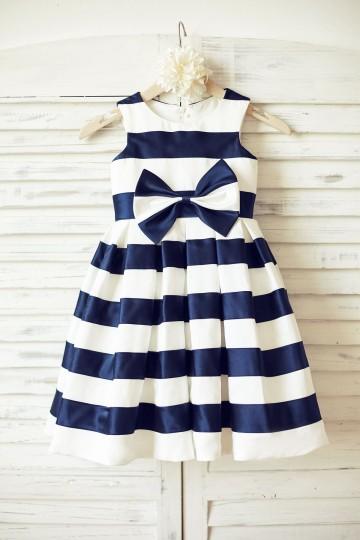 Princessly.com-K1000188-Ivory Navy Blue Stripes Satin Flower Girl Dress with bow-20