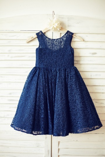 Princessly.com-K1000087-Navy Blue Lace Flower Girl Dress with V back and big bow-20