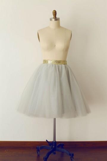 Princessly.com-K1000269-Grey Tulle Sequin Skirt/Short Woman Skirt-20