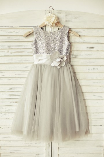 Princessly.com-K1000089-Silver Sequin Gray Tulle Flower Girl Dress-20