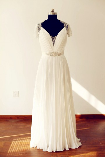 Princessly.com-K1000221-Sheer See Though Back Short Sleeves Lace Chiffon Long Wedding Dress-20