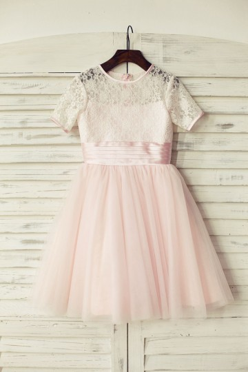 Princessly.com-K1000163-Short Sleeves Pink Lace Tulle Flower Girl Dress-20