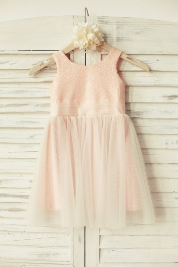 Princessly.com-K1000127-Peach Pink Sequin Tulle Flower Girl Dress-20