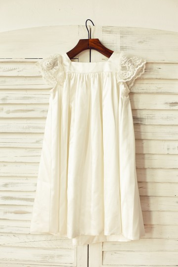 Princessly.com-K1000108-Ivory Satin Cap Sleeves Flower Girl Dress-20