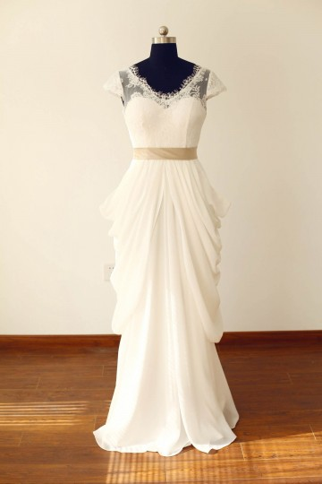 Princessly.com-K1000225-Sheer See Though Ivory Lace Chiffon Cap Sleeves V Back Wedding Dress with champagne sash-20