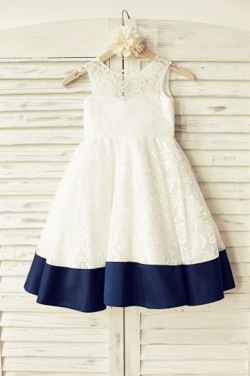 Princessly.com-K1000166-Deep V Back Ivory Lace Flower Girl Dress with navy blue bow-20
