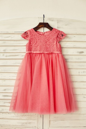 Princessly.com-K1000191-Coral Lace Tulle Cap Sleeve Flower Girl Dress-20