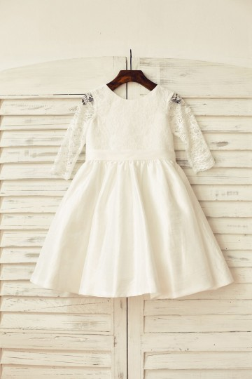 Princessly.com-K1000159-Ivory Long Lace Sleeves Taffeta Flower Girl Dress-20