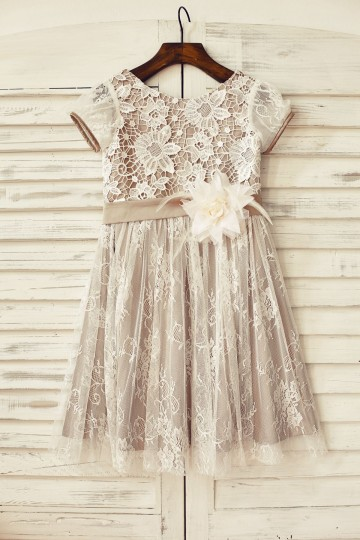 Princessly.com-K1000173-Brown Satin Ivory Lace Short Sleeve Flower Girl Dress-20
