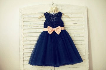 Princessly.com-K1000130-Navy Blue Lace Tulle Flower Girl Dress Keyhole Back with Blush Pink Bow Belt-20