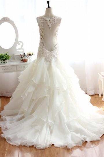 Princessly.com-K1000073-Backless Lace Organza Beaded Ruffle Wedding Dress-20