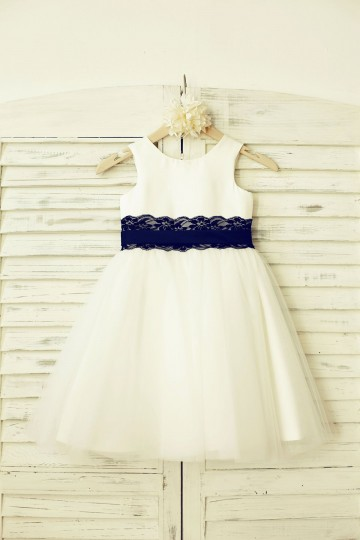 Princessly.com-K1000205-Ivory Satin Tulle Flower Girl Dress with navy blue Lace sash-20