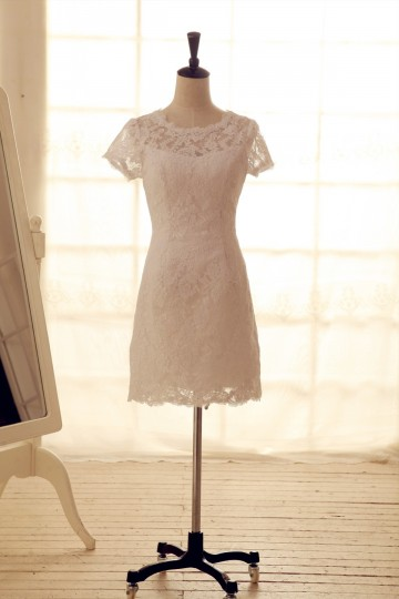 Princessly.com-K1001938-Vintage Inspired French Corded Lace Wedding Dress Short Dress Knee Length Dress with Cap Sleeves-20