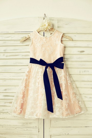 Princessly.com-K1000206-Lace Flower Girl Dress with navy blue sash /Blush Pink Lining-20