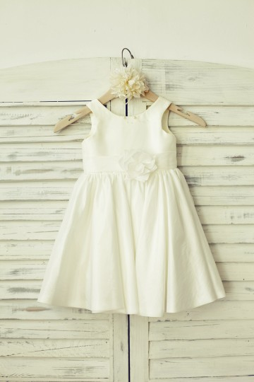 Princessly.com-K1000132-Simple Ivory Taffeta Flower Girl Dress-20
