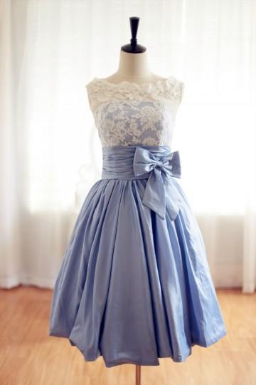 Princessly.com-K1001956-Lace Blue Taffeta Wedding Dress/Bridesmaid Dress in Knee Short Length-20