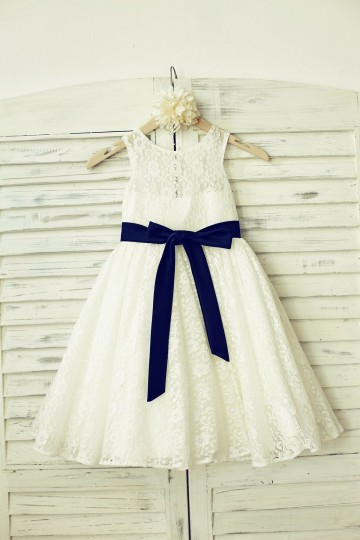 Princessly.com-K1000196-Ivory Lace Flower Girl Dress with navy blue sash-20
