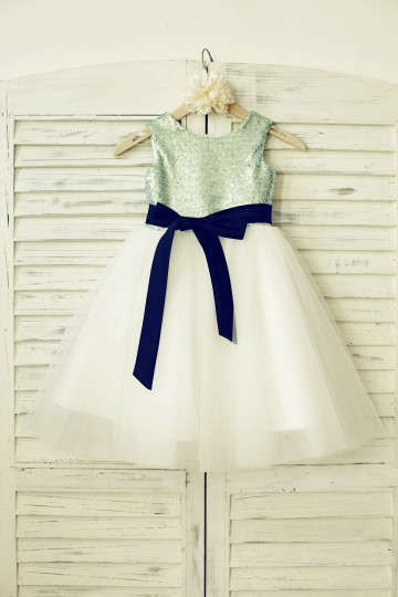 Princessly.com-K1000134-Mint Sequin Ivory Tulle Flower Girl Dress with navy blue sash-20
