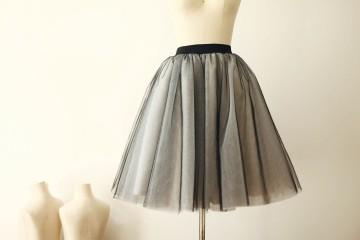 Princessly.com-K1000259-Black Tulle Ivory Lining TUTU Skirt/Short Women Skirt-20