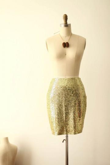 Princessly.com-K1000263-Gold Sequin Fitted Skirt/Short Women Skirt-20