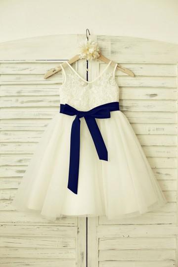 Princessly.com-K1000181-V Neck Ivory Lace Tulle Flower Girl Dress with navy blue sash-20