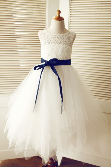 Princessly.com-K1003317-Keyhole Ivory Lace Tulle Wedding Flower Girl Dress/Navy Blue Sash-20