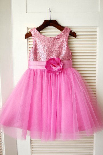 Princessly.com-K1003346-Hot Pink Sequin Tulle Wedding Flower Girl Dress-20