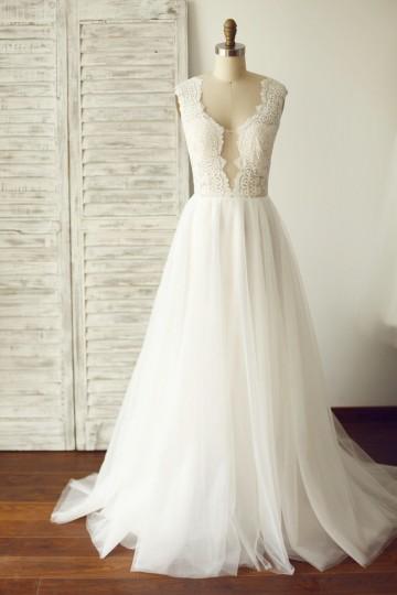 Princessly.com-K1000100-Sheer Illusion Lace Plunging Neck Tulle Wedding Dress-20