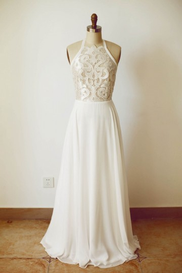 Princessly.com-K1000251-Boho Beach Lace Chiffon Backless Wedding Dress-20