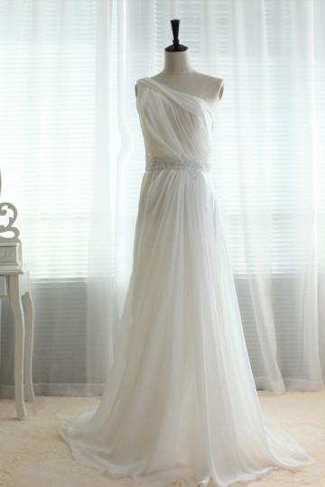 Princessly.com-K1000018-One shoulder Chiffon Sheer Tulle Back with lace Beading Wedding dress/Bridesmaid dress/Prom Dress-20
