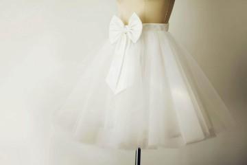Princessly.com-K1000265-Ivory Tulle Satin TUTU skirt with bow /Short Woman Skirt-20