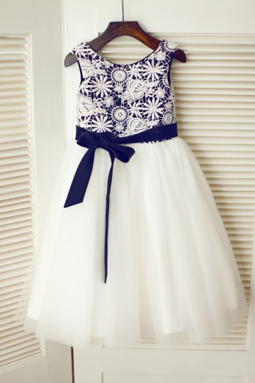 Princessly.com-K1003339-Ivory Lace Tulle Wedding Flower Girl Dress with Black Lining/Sash-20