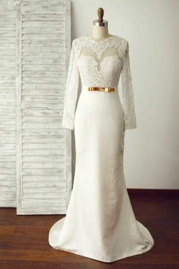 Princessly.com-K1000239-Sexy Long Lace Sleeves Backless Ivory Satin Wedding Dress-20
