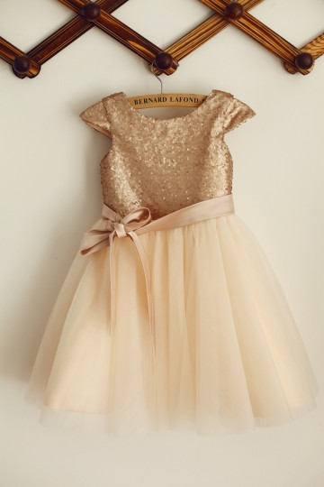 Princessly.com-K1003384-Cap Sleeves Champagne Sequin Tulle Wedding Flower Girl Dress with belt-20