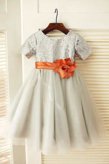 Princessly.com-K1003314-Short Sleeves Silver Sequin Gray Tulle Wedding Flower Girl Dress-20