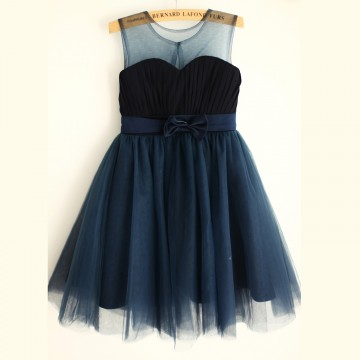 Princessly.com-K1003966-Navy Blue Chiffon Tulle Wedding Flower Girl Dress with Belt-20