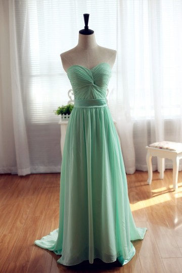 Princessly.com-K1001952-Mint Chiffon Bridesmaid Dress Prom Dress Strapless Sweetheart Dress-20