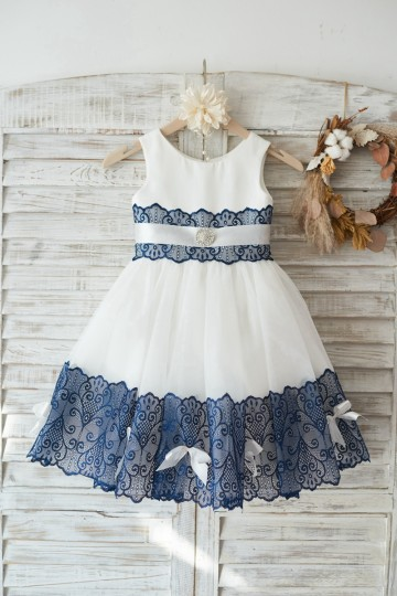 Princessly.com-K1003444-Ivory Satin Tulle Wedding Flower Girl Dress with Navy Blue Lace Bow Belt-20