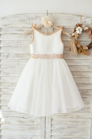 Princessly.com-K1003457-Ivory Satin Tulle Wedding Flower Girl Dress with Champagne sash and Bow-20
