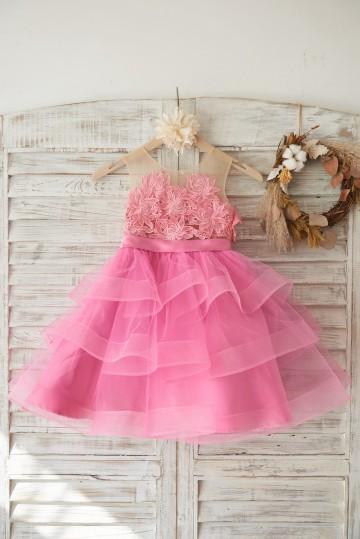 Princessly.com-K1003461-Cupcake Fuchsia Lace Tulle Wedding Flower Girl Dress with Horsehair Tulle Hem-20
